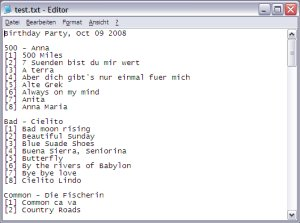 An exported setlist on Windows